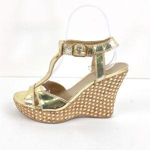 Stuart Weitzman Gold Wedge Sandals Strappy 5.5